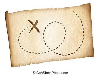 landkarte, altes , piraten, einfache , schatz, markiert, ort, pfad