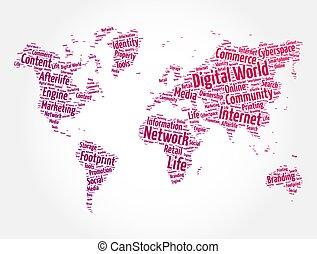 landkarte, begriff, wolke, form, technologie, wort, digitale welt, hintergrund