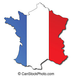 landkarte, fahne, französisches frankreich