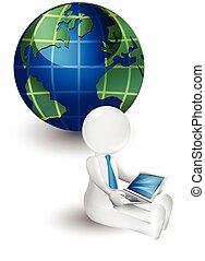 landkarte, laptop, person, kleine welt, 3d