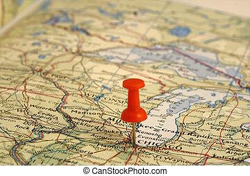 landkarte, ort, stift, chicago