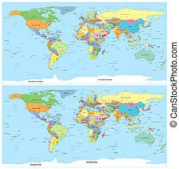landkarte, politisch, vector., world.