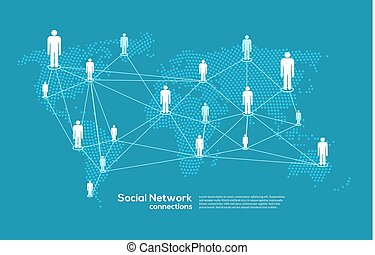 landkarte, vernetzung, leute, medien, concept., sozial, abbildung, anschluss, kommunikation, welt