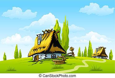 Landscape mit dem alten Haus im Dorf