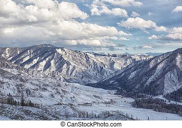 landschaftsbild, altai., berge., russland, winter, schöne