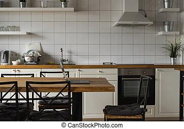 laptop, auf, küchentresen, schließen, hintergrund.