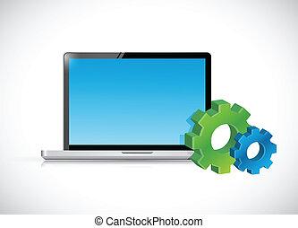 Laptop-Computer und Getriebe-Icons. Illustration