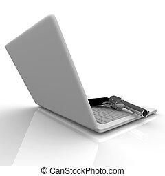 Laptop-Computer und Waffe