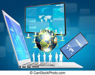 Laptop, Handy, Touchscreen-Gerät (Element dieses von der NASA eingerichteten Bildes)