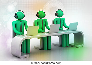 laptop, modern, 3d, buero, leute