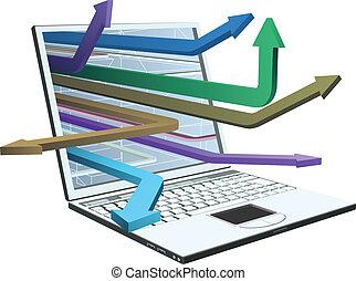 Laptop und Pfeile Konzept
