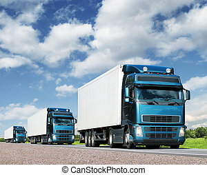 lastwagen, transport, kolonne, landstraße, ladung, begriff