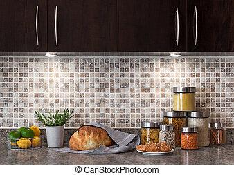 Lebensmittelzutaten in einer Küche mit gemütlichem Licht