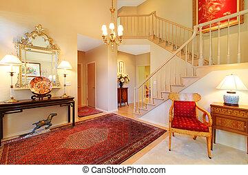 lebensunterhalt, teppich, zimmer, staircase., eingang, luxus, rotes