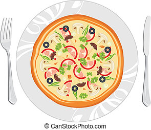 Leckere Pizza auf dem Teller