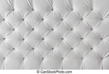 Lederaufpolster, weißes Sofa, Musterhintergrund