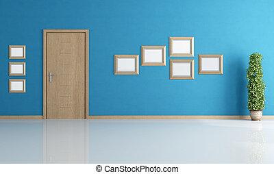 Leeres blaues Innere
