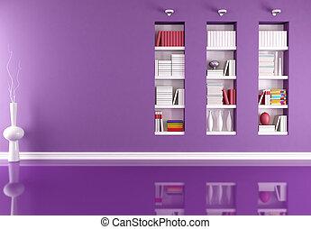 Leeres Innere mit Bücherregal