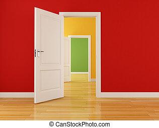 Leeres Innere mit offenen Türen