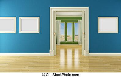 Leeres Innere mit Schiebetür und Fenster