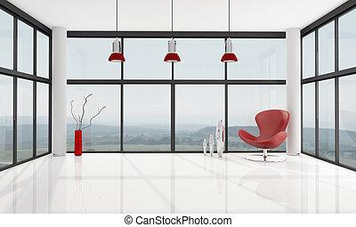 Leeres minimalistisches Wohnzimmer.