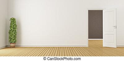 Leeres weißes Interieur mit Tür.