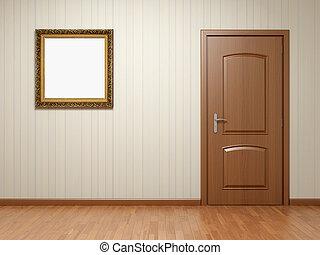 Leeres Zimmer mit Tür und Bild