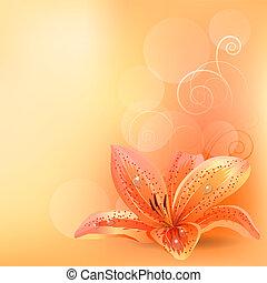 Leichter Background mit orangefarbener Lilie
