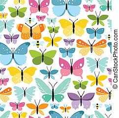 Leichtes Muster mit vielen lustigen bunten Schmetterlingen