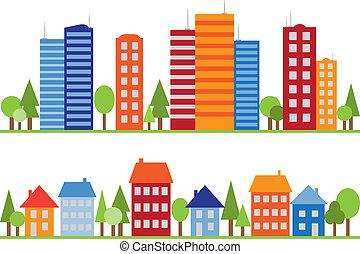 Leichtes Muster von Stadt, Stadt oder Dorf