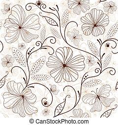 Leichtes weißbraunes Blumenmuster
