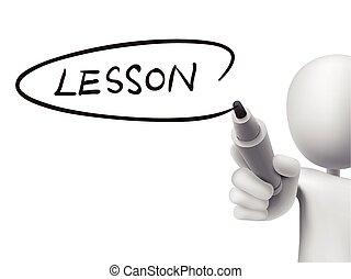 lektion, mann, 3d, wort, geschrieben