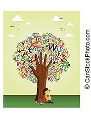 Lerne an der Schulbildungsbaumhand zu lesen