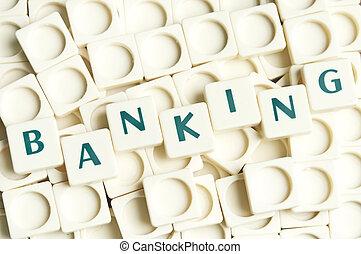 leter, bankwesen, gemacht, wort, stücke