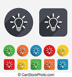 Leuchtlampenzeichen-Ikone. Idea-Symbol.