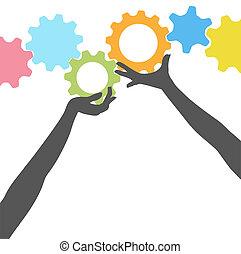 leute, auf, zahnräder, hände, halten, technologie