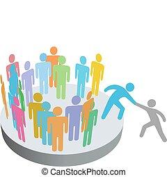 leute, beitreten, hilft, person, mitglieder, gruppe, firma, helfer