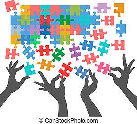 leute, beitreten, puzzel, finden, anschlüsse