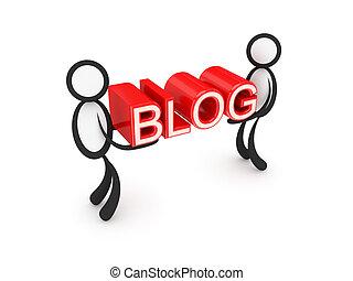 leute, blog, hands., 3d, wort, klein