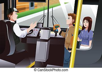 Leute, die für Busgeld bezahlen.