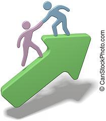 Leute, die Hand helfen, sich dem Pfeil anzuschließen