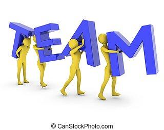 Leute, die zusammenarbeiten, tragen blaue Team-Briefe
