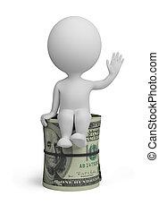 leute, dollar, -, klein, rolle, 3d