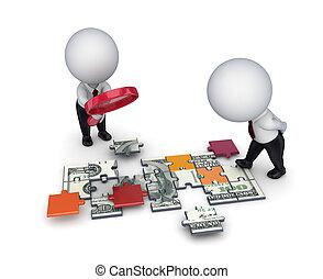 leute, dollar, puzzles., gemacht, loupe, 3d