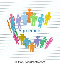 leute, firma, abkommen, vertrag, übereinstimmung, treffen