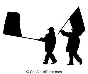 leute, flaggen, zwei