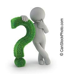 leute, frage, -, markierung, grün, klein, 3d