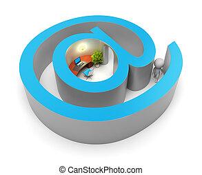 leute, -, internet, klein, eingabe, 3d