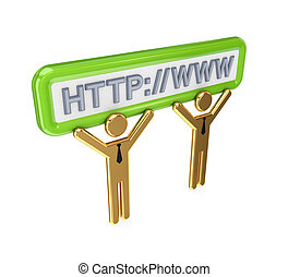 leute, internet, symbols., 3d, klein