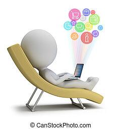 leute, -, klein, internet, dienstleistungen, 3d